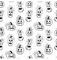 ink hand drawn halloween pattern with pumpkins vector image