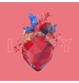 Realistic polygonal heart vector image