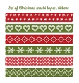 Set of vintage christmas washi tapes ribbons vector image