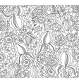 Black and white floral sketch seamless vector image vector image