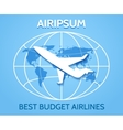 Airlines emblem with flying airplane vector image