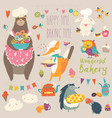 animals baking the sweets vector image