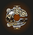 c letter with gears vector image