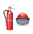 Firefighter Helmet And Extinguisher vector image