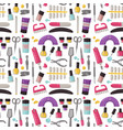 manicure instruments seamless pattern background vector image
