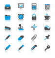 Office supplies flat with reflection icons vector image