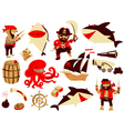 set with pirate and shark characters vector image