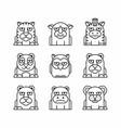 animals set on white background vector image