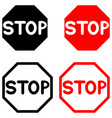 symbol stop black and red color vector image