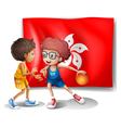 The flag of Hongkong at the back of the basketball vector image vector image