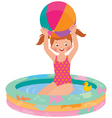 Girl in inflatable pool vector image