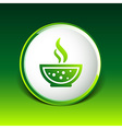 Bowl of Hot Soup with spoon Line Art Icon isolated vector image