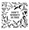 Birds card be free black and white vector image