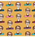 Seamless pattern with cartoon girls vector image
