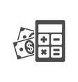 calculator with money icon vector image