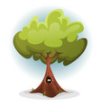 funny bird or squirrel nest inside tree trunk vector image