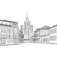 moscow city street famous building travel russia vector image