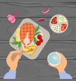 person is eating grilled fish vector image