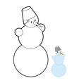 Snowman coloring book Christmas character out of vector image
