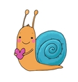 Cute cartoon snail with heart vector image