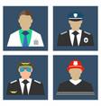 doctor fireman policeman pilot portrait icon vector image