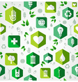 Green flat icons seamless pattern vector image
