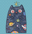 cartoon cute cat with the universe inside cartoon vector image