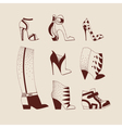 woman shoes boots sneakers vector image vector image