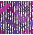 Tropical leavesbranches seamless patternLilac vector image