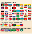 Flags of the Asia vector image vector image