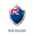new zealand flag on metal shiny shield vector image