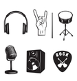 Set of rock and roll music elements vector image