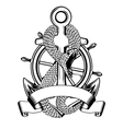 Snake anchor and steering wheel vector image