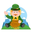 The man with a pot of gold St Patrick Day vector image