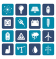 Flat Power and electricity industry icons vector image