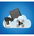 mobile music smartphone cloud piano vector image