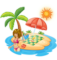 A lady with a pink swimsuit at the beach vector image