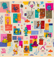 cartoon characters fun seamless pattern vector image