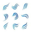 set of flow water blue icons vector image
