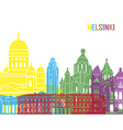 Helsinki skyline pop vector image