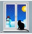 windowsill winter vector image vector image