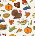 Thanksgiving seamless pattern on white background vector image