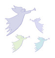 angel silhouettes with simple wings on a white vector image