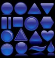 Blue Glass Button Collection vector image