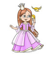 cute princess with long hair holds on finger vector image