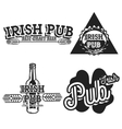 Vintage irish pub emblems vector image