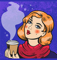 girl with coffee pop art comics vector image