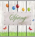 spring floral text on white leather label vector image