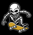 cartoon of skull ride a skateboard vector image