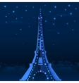 Blue cutout paper night Eiffel tower vector image